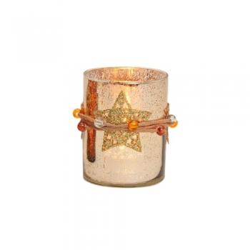 TeeküünlahoidikTäht10x8cm klaas sädelev