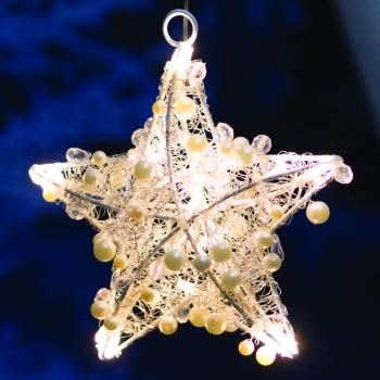 Jõulukaunistus pärlitega täht 15LED