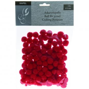 Käsitööpallid 15mm 130tk pehmed punane