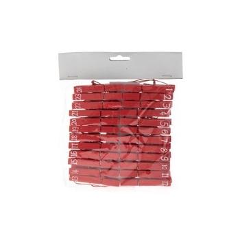 Pesulõksud numbritega, puidust punane