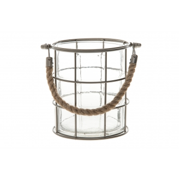 Küünlalühter klaas juteköisangaga 15,5cm