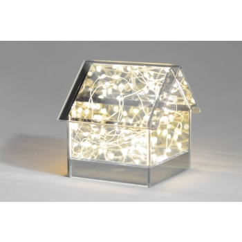 Klaasmaja 14x14x14,5cm LEDtuledega