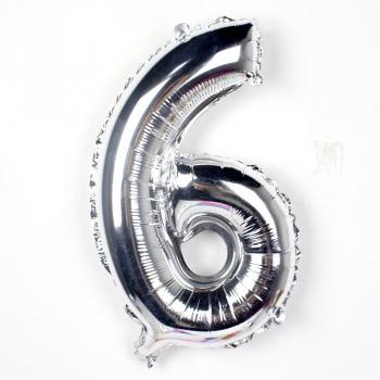 Õhupall nr.6 34cm  foolium hõbe