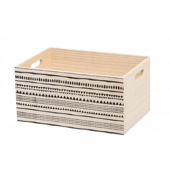 Puidust kast 36x25x18cm mustriga