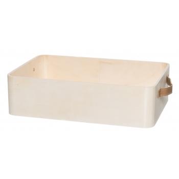 Puidust kast nahksangadega 37x25x10cm