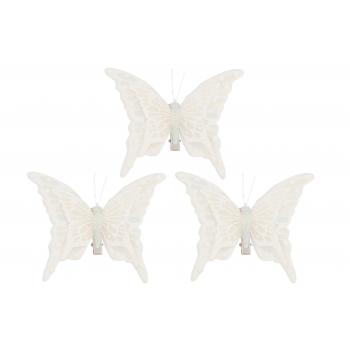 Dekoratsioon Liblikad 12cm 3tk valge