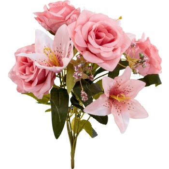 Kunstlilekimp Roosid/ Liiliad 34cm roosa
