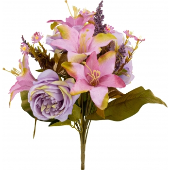 Kunstlillekimp Roosid 40cm lilla