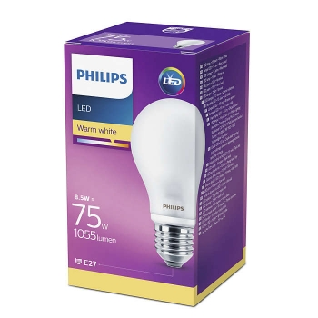 LED lamp Philips 75W E27 A60 matt klaas