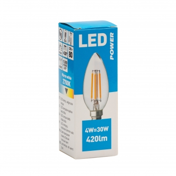 LED lamp Power C35 420LM E14, soe valge