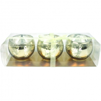 Teeküünlahoidik 3tk kuldne klaas
