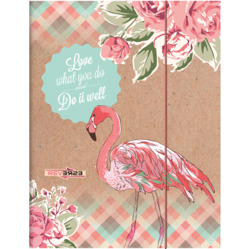 Kartongmapp kummiga A4 Flamingo
