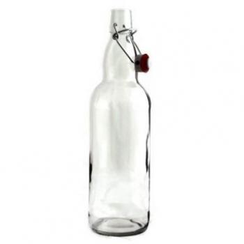 Pudel 1L klamberkorgiga, läbipaistev