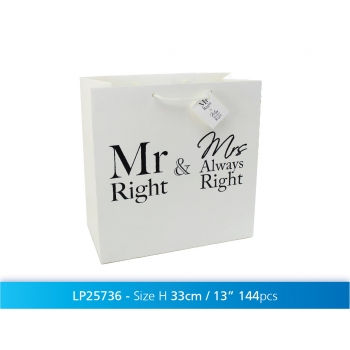 Kinkekott 33x33cm Mr&Mrs Always Right