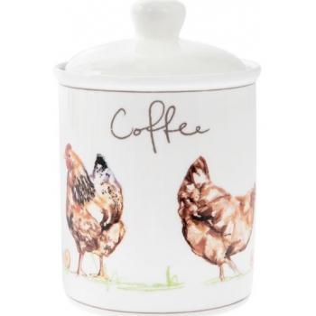 Säilituspurk kohvi jaoks, keraamil.Kanad