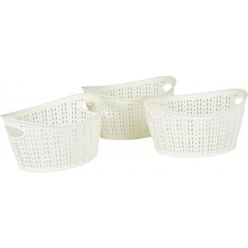Plastkorv Knitty 3tk/1,5L ovaalne valge