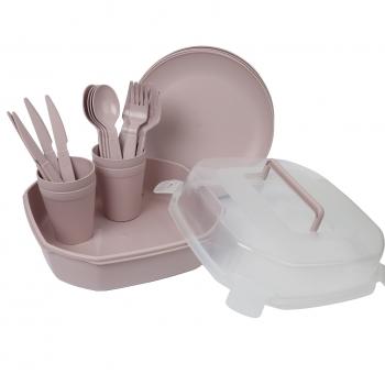 Piknikukomplekt plastik. 4-le,vanaroosa