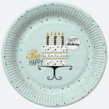 Taldrikud Happy B-day, 22,7cm, 8tk/pk