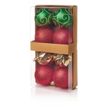 Kuusemuna 8cm 8tk punane-roheline-kuld