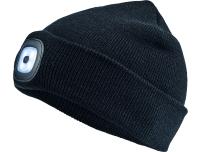 Müts LED-valgustusega laetav must