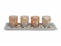 Teeküünahoidik 4tk klaas+ metallalus