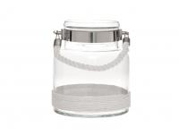 Küünlalühter klaas köiest sangaga 20cm