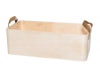 Puidust kast nahksangadega 40x20x13cm