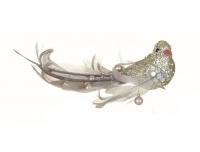 Dekoratsioon Lind 16cm hõbedane