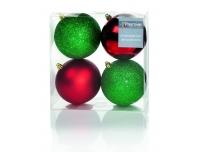 Kuusemuna pall 10cm 4tk punane /roheline