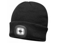 Müts LED-valgustusega USB laetav must